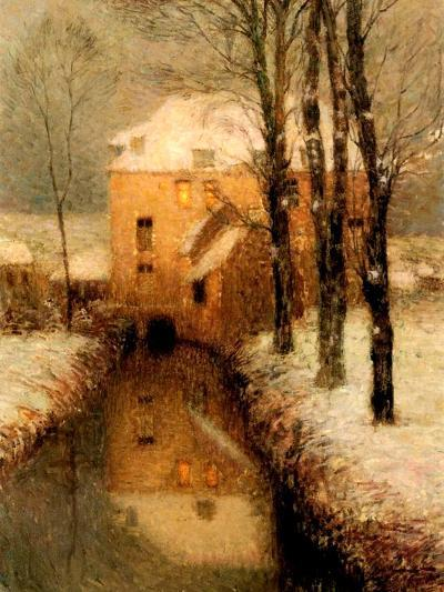The Canal in Winter, 1901-Henri Eugene Augustin Le Sidaner-Giclee Print