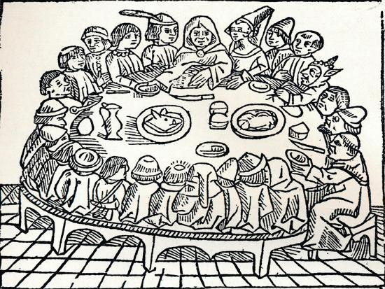 The Canterbury Pilgrims Sitting Down for a Shared Meal, 1485-William Caxton-Giclee Print