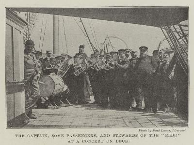 The Captain, Some Passengers, and Stewards of the Elbe at a Concert on Deck--Giclee Print