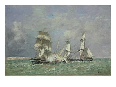 The Capture of the 'Petit Rodeur', 1878-Eug?ne Boudin-Giclee Print