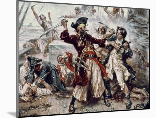 The Capture of the Pirate Blackbeard, 1718 (Detail)-Jean Leon Gerome Ferris-Mounted Giclee Print