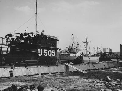 The Captured German Submarine U505 at the Docks of the Great Lakes Dredge and Dock Company--Photographic Print