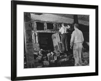 The Captured German Submarine U505 in the Dry Dock of the Great Lakes Dredge and Dock Company--Framed Photographic Print