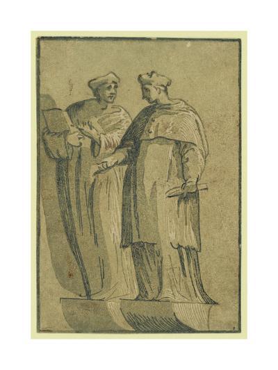 The Cardinal and the Doctor, Between 1500 and 1530-Ugo da Carpi-Giclee Print