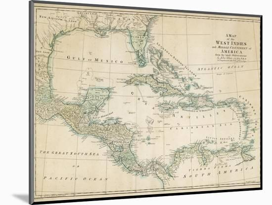 The Caribbean with the West Indies and the Coasts of the United States and the Spanish Possessions-John Blair-Mounted Premium Giclee Print