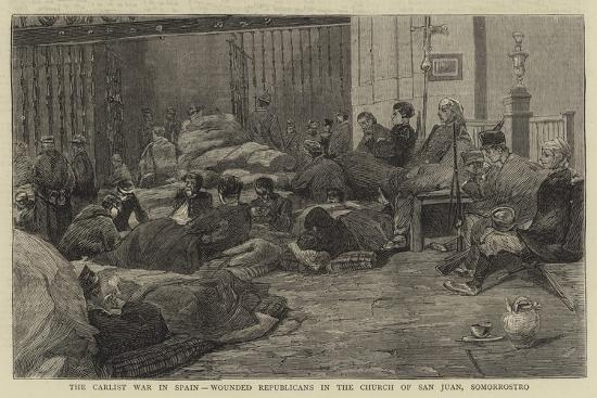 The Carlist War in Spain, Wounded Republicans in the Church of San Juan, Somorrostro--Giclee Print