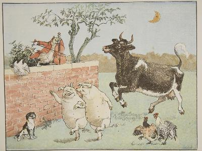 The Cat and the Fiddle, Illustration from 'Hey Diddle Diddle and Bye, Baby Bunting', 1882-Randolph Caldecott-Giclee Print