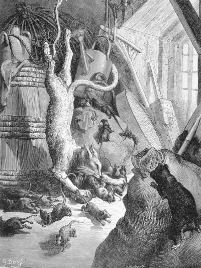 The Cat and the Old Rat, Illustration from 'Fables' by La Fontaine, 1868-Gustave Dor?-Giclee Print
