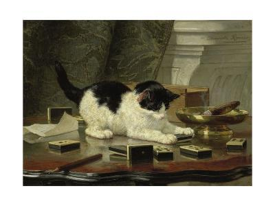 The Cat at Play, by Henriette Ronner, C. 1860-78, Belgian-Dutch Painting on Panel-Henriette Ronner-Giclee Print