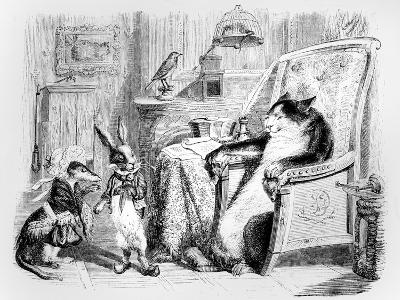 The Cat, the Weasel and the Little Rabbit, Illustration for 'Fables' of La Fontaine (1621-95),…-J^J^ Grandville-Giclee Print