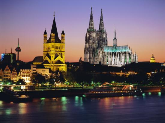 The Cathedral and River Rhine, Cologne, North Rhine Westphalia,, Germany-Gavin Hellier-Photographic Print