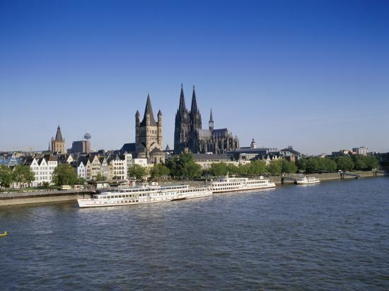 The Cathedral and River Rhine, Cologne, North Rhine Westphalia, Germany-Hans Peter Merten-Photographic Print