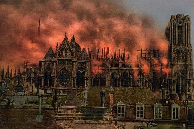 The Cathedral of Rheims During the Bombardment by German Artillery, 19th September, 1914--Giclee Print
