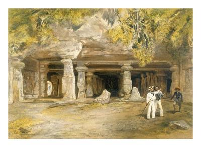 The Cave of Elephanta, from 'India Ancient and Modern', 1867 (Colour Litho)-William 'Crimea' Simpson-Giclee Print