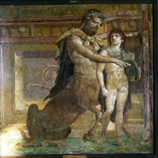 The Centaur 'Cheiron' teaching Achilles, Roman wall-painting from Herculaneum, c1st century-Unknown-Giclee Print