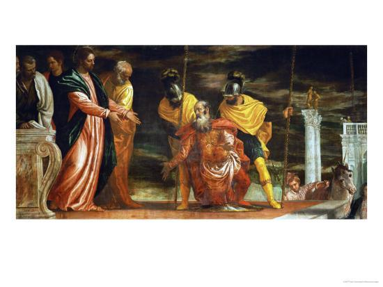 The Centurion of Capernaum Who Begs Jesus to Heal His Paralyzed Servant-Paolo Veronese-Giclee Print