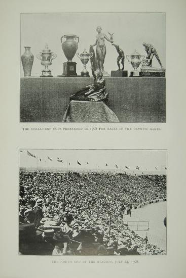 The Challenge Cups and a View of the North End of the Stadium, 1908--Photographic Print