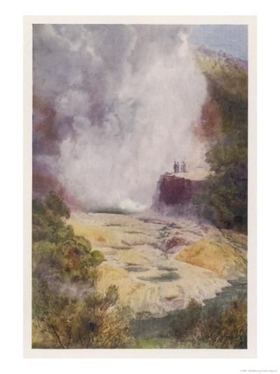 The Champagne Cauldron Hot Spring Near Rotorua in New Zealand-F. Wright-Giclee Print