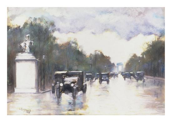 The Champs Elysees, 1928-Lesser Ury-Giclee Print