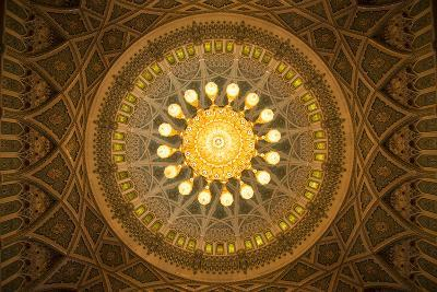 The Chandelier Above the Praying Hall Inside the Sultan Qaboos Grand Mosque, from Directly Below-Michael Melford-Photographic Print