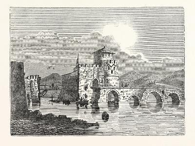 The Channel of the Euri'Pus and the Modern Town of E'Gripos: the Bridge of the Euripus--Giclee Print