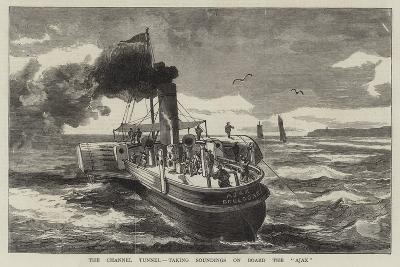 The Channel Tunnel, Taking Soundings on Board the Ajax--Giclee Print
