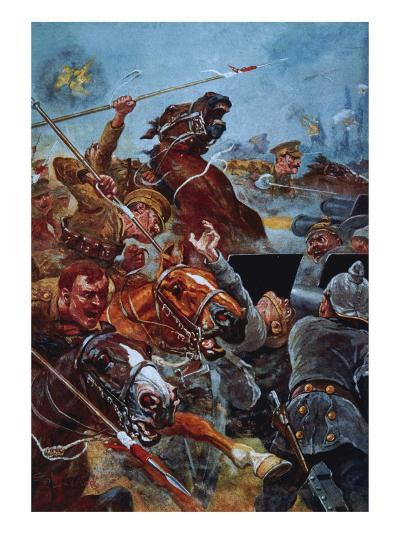 The Charge of the 9th Lancers During the Retreat from Mons-Stanley L^ Wood-Giclee Print