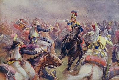 The Charge of the Heavy Brigade Against the French Cuirassiers at Waterloo, from 'British Battles…-Christopher Clark-Giclee Print