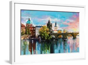 The Charles Bridge over Vltava River in Prague in a Warm Sunset Lights. Original Oil Painting on Ca