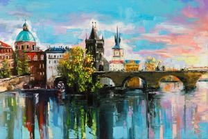 The Charles Bridge over Vltava River in Prague in a Warm Sunset Lights. Original Oil Painting on Ca