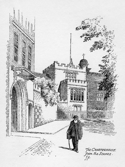 The Charterhouse from the Square, London, 1912-Frederick Adcock-Giclee Print