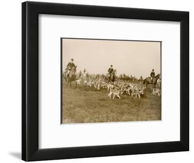 The Chase of the Devon and Somerset Stag Hunt with Horses and Hounds Running Downhill England--Framed Giclee Print