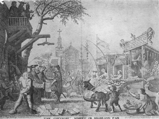 The Chevaliers Market, or Highland Fair, Published by George Bickham the Younger, 1745--Giclee Print