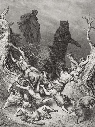 The Children Destroyed by Bears, Illustration from Dore's 'The Holy Bible', 1866-Gustave Dor?-Giclee Print