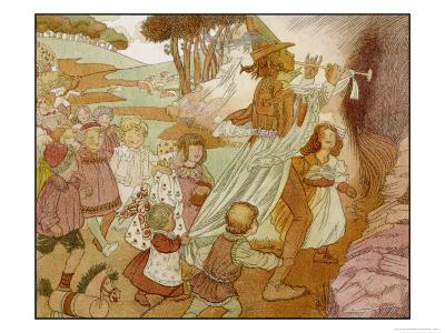 The Children of Hamelin Follow the Pied Piper and are Not Seen Again-Olive Wood-Giclee Print