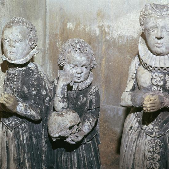 The children of Sir John Scudamore at his tomb, 17th century-Unknown-Giclee Print