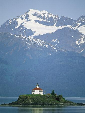 The Chilkat Range Looms Above the Eldred Rock Lighthouse--Photographic Print