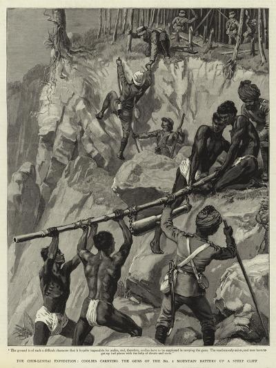 The Chin-Lushai Expedition, Coolies Carrying the Guns of the No 1 Mountain Battery Up a Steep Cliff--Giclee Print
