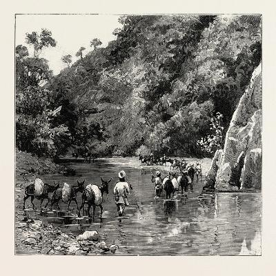 The Chin Lushai Expeditionary Force, a Mule Convoy Crossing the Loung Gut Choung Stream, 1890--Giclee Print