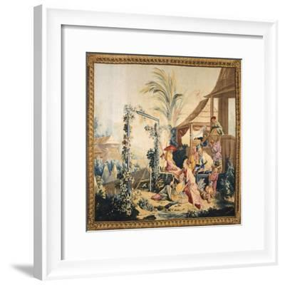 The Chinese Hunting, or the Birds' Seller Tapestry Based on Cartoon by Francois Boucher--Framed Giclee Print