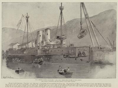 The Chinese Ironclad Battle-Ship Chen-Yuen Undergoing Repairs at Port Arthur-William Heysham Overend-Giclee Print