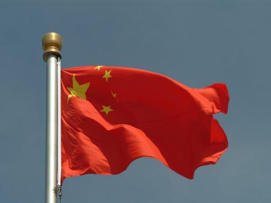 The Chinese National Flag Waves Above Tiananmen Square-Richard Nowitz-Photographic Print