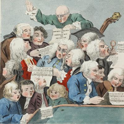 The Chorus or Rehearsal of the Oratorio of Judith, Illustration from 'Hogarth Restored: the Whole…-William Hogarth-Giclee Print