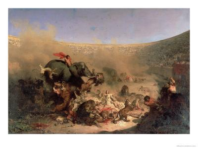 The Christians Thrown to the Beasts by the Romans-Louis Felix Leullier-Giclee Print