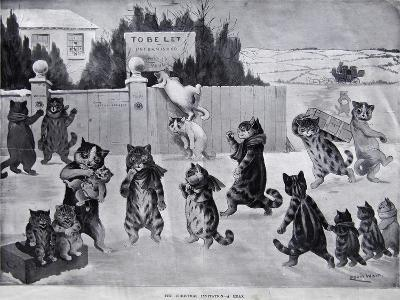The Christmas Invitation - a Hoax, 1900-Louis Wain-Giclee Print