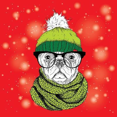 The Christmas Poster with the Image Dog Portrait in Winter Hat. Vector Illustration.-Sunny Whale-Art Print