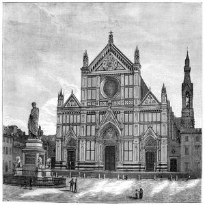 The Church and Piazza of Santa Croce Basilica, Florence, Italy, 1882