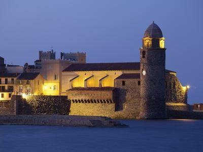 The Church of Notre-Dame-Des-Anges at Dusk from the Harbour at Collioure, Cote Vermeille, Languedoc-David Clapp-Photographic Print