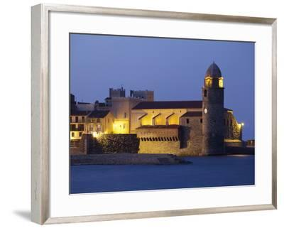 The Church of Notre-Dame-Des-Anges at Dusk from the Harbour at Collioure, Cote Vermeille, Languedoc-David Clapp-Framed Photographic Print