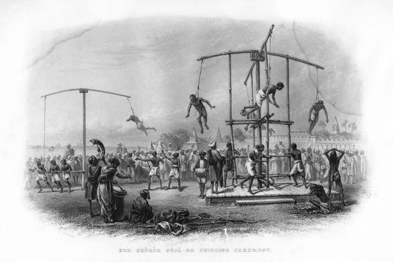 The Churuk Puja or Swinging Ceremony, India, 19th Century-JJ Crew-Giclee Print